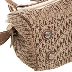 Dior Brown/Beige Oblique Canvas and Leather My Dior Pocket Frame Satchel