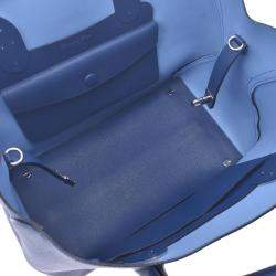 Dior Blue Leather Open Bar Tote Bag