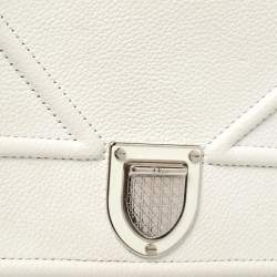 Dior White Leather Diorama Wallet on Chain