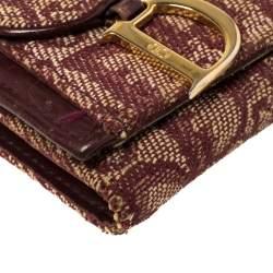 Dior Maroon Diorissimo Canvas Saddle Compact Wallet