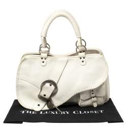 Dior White Leather Gaucho Double Saddle Shoulder Bag