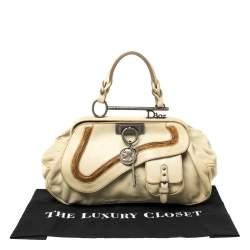 Dior Cream Leather Gaucho Frame Bag