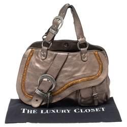 Dior Metallic Brown Gaucho Leather Large Double Saddle Shoulder Bag