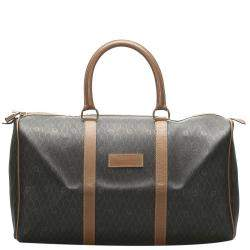 Dior Brown/Beige Honeycomb Leather Travel Bag