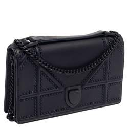 Dior Navy Blue Ultra Matte Leather Studded  Diorama Wallet on Chain
