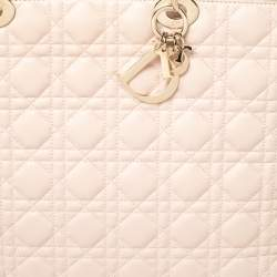Dior Pale Pink Cannage Leather Large Soft Lady Dior Shopping Tote