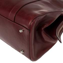 Dior Maroon Leather Star Chain Link Satchel