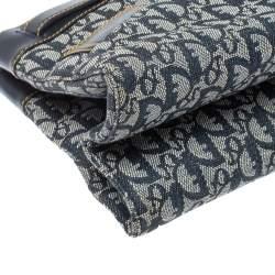 Dior Navy Blue Oblique Denim and Leather Vintage Buckle Tote