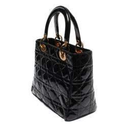 Dior Black Quilted Leather Vintage Medium Lady Dior Bag