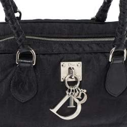Dior Black Oblique Nylon And Leather Lovely Satchel