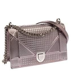 Dior Metallic Rose Gold Microcannage Patent Leather Medium Diorama Shoulder Bag