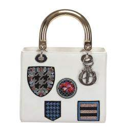 Dior White Leather Patch Embellished Lady Dior Bag