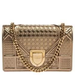 Dior Metallic Gold Micro Cannage Patent Leather Baby Diorama Crossbody Bag