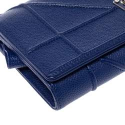 Dior Blue Leather Diorama Wallet on Chain
