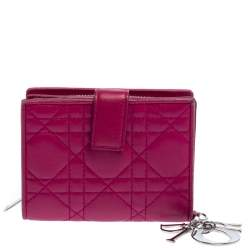 Dior Fuchsia Cannage Leather French Compact Wallet