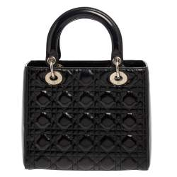 حقيبة يد ديور ليدي ديور متوسطة جلد لامع أسود