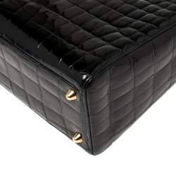 Dior Black Shine Crocodile Large Lady Dior Tote