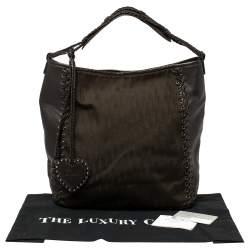حقيبة هوبو ديور إيثنيك جلد و كانفاس مطبوع شعار الماركة بني