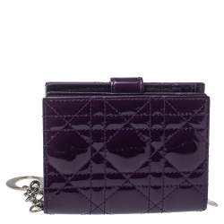 Dior Purple Cannage Patent Leather French Compact Wallet