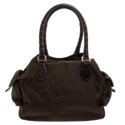 Dior Dark Brown Oblique Canvas And Leather Multi Pocket Tote