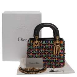 Dior Multicolor Leather Mini Beaded Fringe Lady Dior Tote