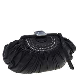 Dior Black Pleated Leather Frame Clutch