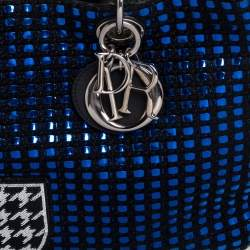Dior Metallic Blue/Black Tweed and Leather Medium Patch Embellished Diorissimo Shopper Tote