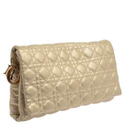 Dior Metallic Gold Cannage Leather Lady Dior Clutch