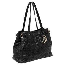Dior Black Cannage Coated Canvas Small Panarea Tote