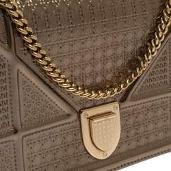 Dior Metallic Gold Microcannage Patent Leather Diorama Wallet on Chain
