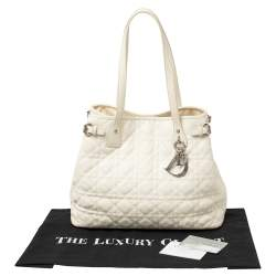 Dior White Cannage Coated Canvas and Leather Small Panarea Tote