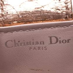 Dior Metallic Gold Crinkled Leather Diorama Gusset Card Holder