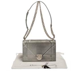 Dior Metallic Silver Microcannage Patent Leather Medium Diorama Shoulder Bag