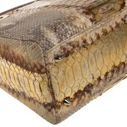 Dior Beige/Gold Python Medium Lady Dior Tote