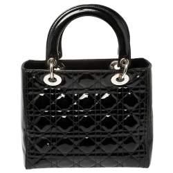 Dior Black Patent Leather Medium Lady Dior Tote
