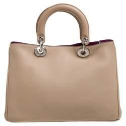 Dior Beige Leather Medium Diorissimo Shopper Tote