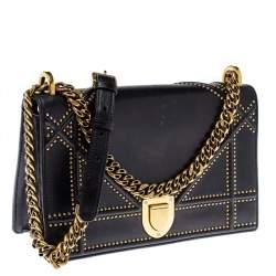 Dior Black Leather Medium Diorama Studded Shoulder Bag