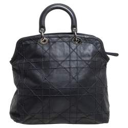 Dior Grey Cannage Quilted Lambskin Leather Large Granville Tote
