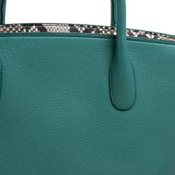 Dior Green/Beige Leather and Python Large Open Bar Tote