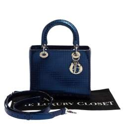 Dior Metallic Blue Microcannage Patent Leather Medium Lady Dior Tote