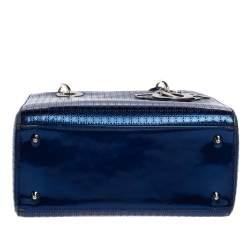 Dior Metallic Blue Microcannage Patent Leather Medium Lady Dior Tote