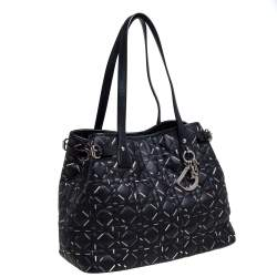 Dior Black Lines Printed Coated Canvas and Leather Small Panarea Tote