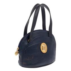 Dior Navy Blue Grained Leather Satchel