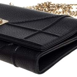 Dior Black Leather Diorama Wallet on Chain