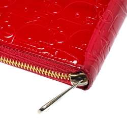 Dior Red Patent Leather Ultimate Zip Around Wallet