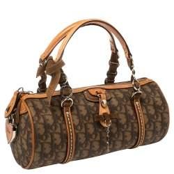 Dior Brown Oblique Coated Canvas and Leather Romantique Barrel Bag