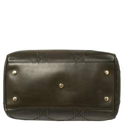 Dior Dark Olive Green Cannage Leather Granville Polochon Satchel