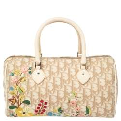 Dior Beige Oblique Coated Canvas and Leather Floral Embroidered Boston Bag