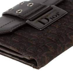 Dior Dark Brown Oblique Canvas and Leather Diorling Compact Wallet