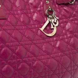 Dior Magenta Cannage Coated Canvas and Leather Medium Panarea Tote